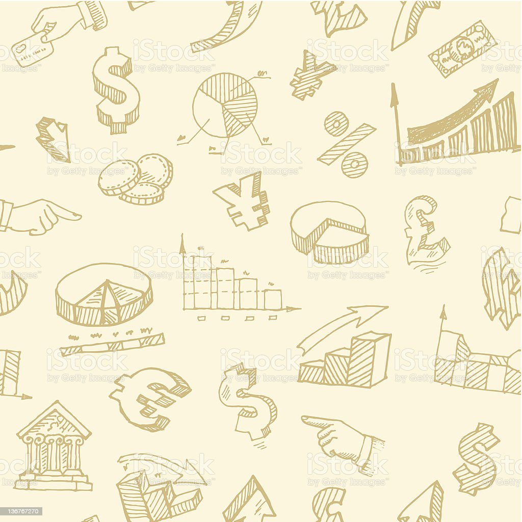 Finance and currency hand-drawn signs seamless background royalty-free stock vector art