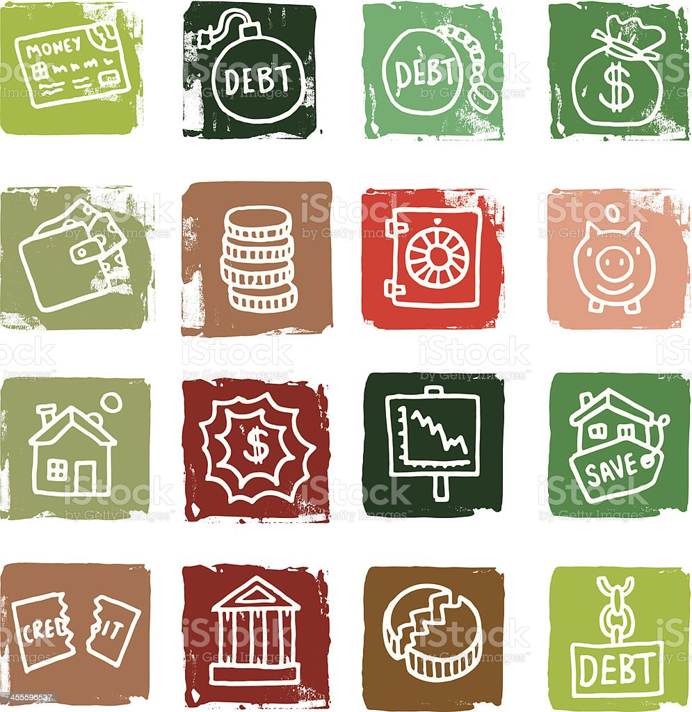 Finance and debt grunge block icons royalty-free stock vector art
