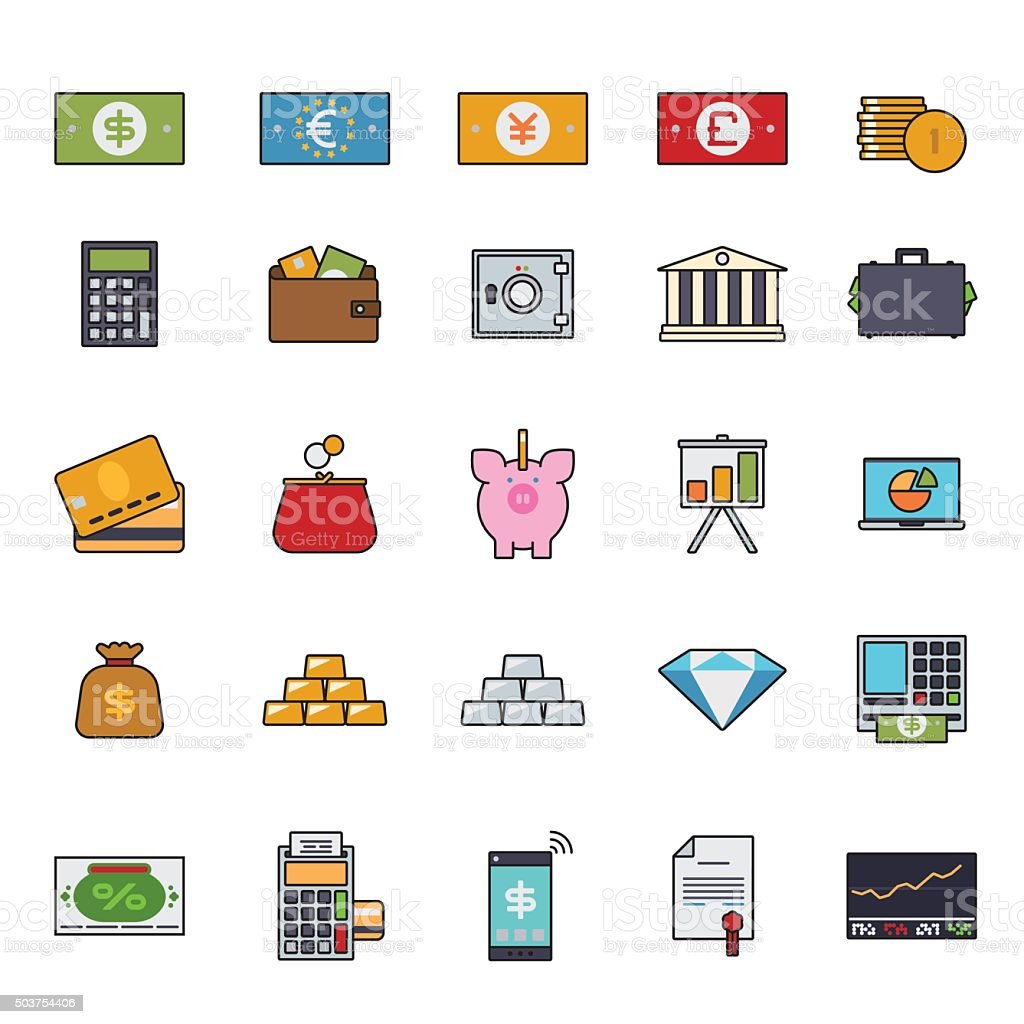 Finance and money filled line icon vector set vector art illustration