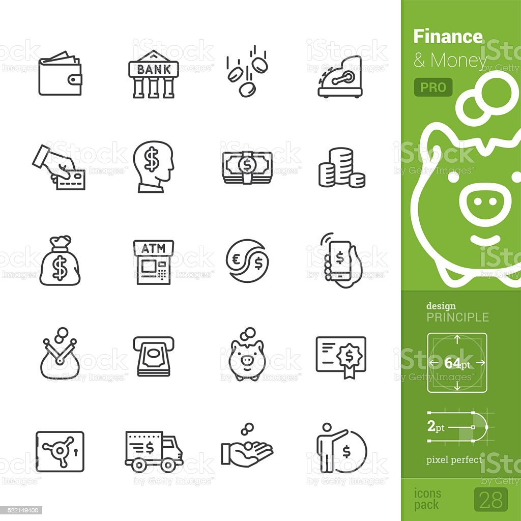 Finance and Money vector icons - PRO pack vector art illustration
