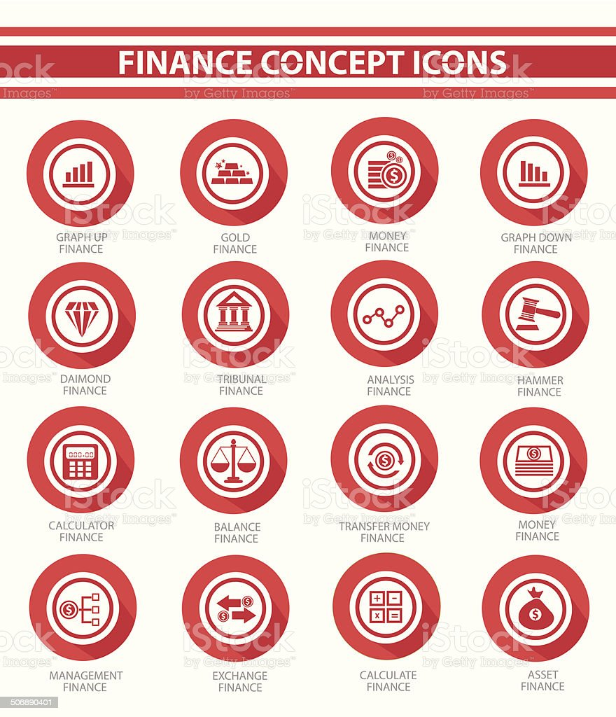 Finance concept buttons,Red version,vector vector art illustration