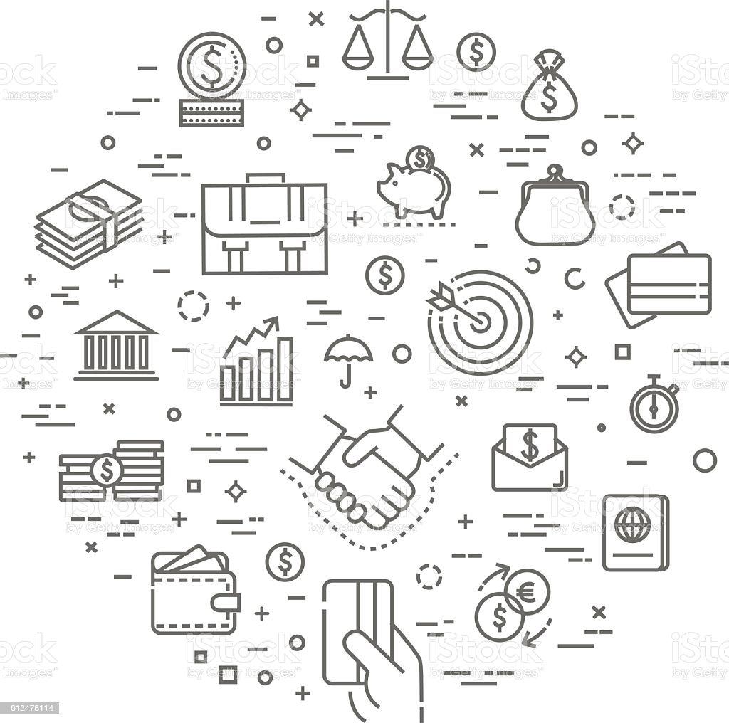 finance concept illustration, line design vector template vector art illustration