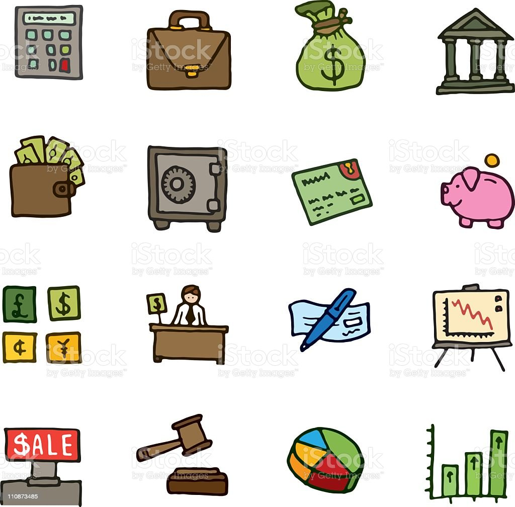 Finance doodle icon set royalty-free stock vector art