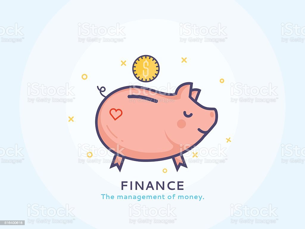 Finance icon, Piggy bank vector art illustration