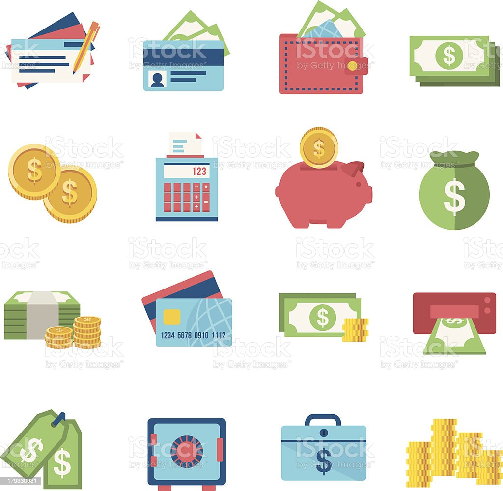 Finance icon set vector art illustration