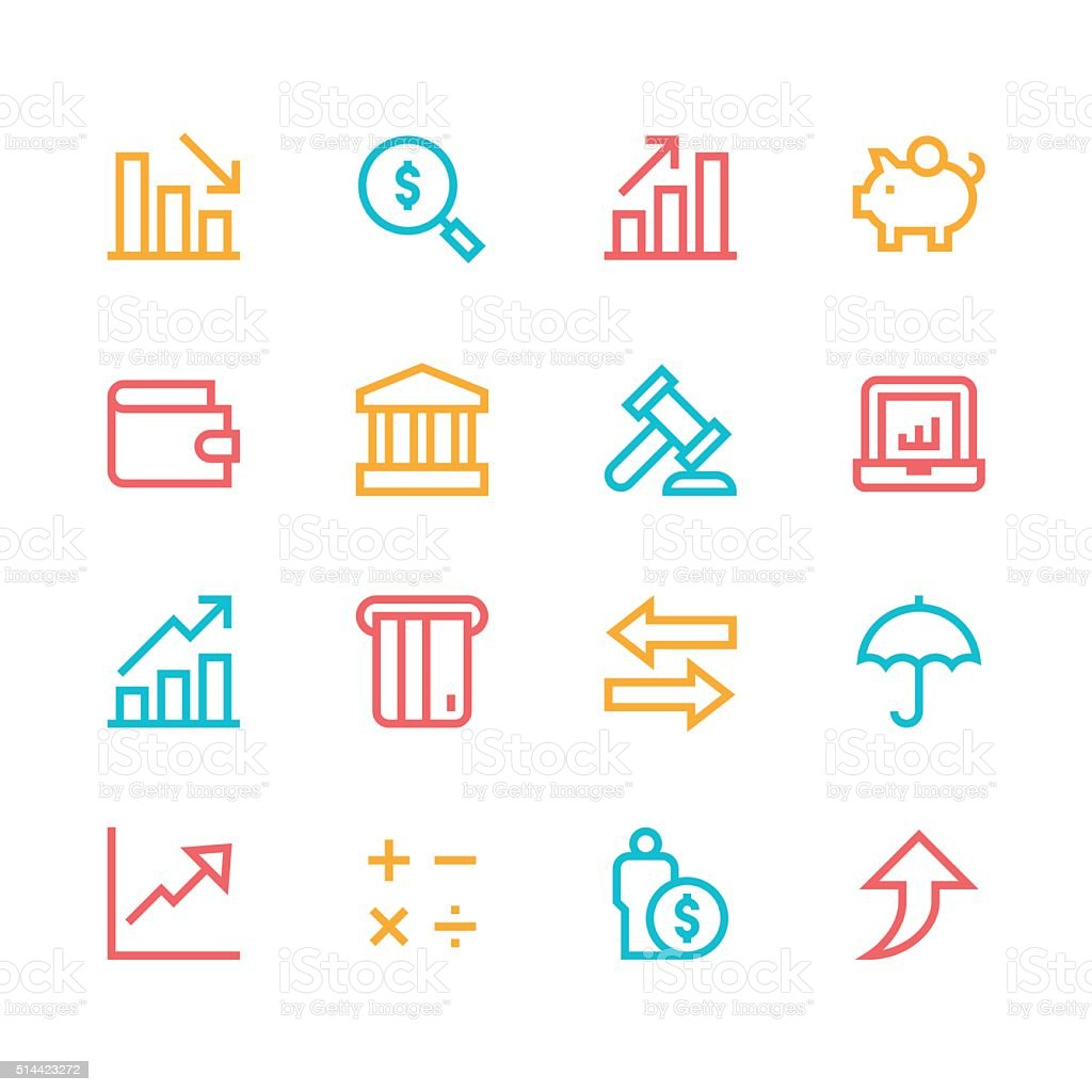Finance icons - line - color series vector art illustration