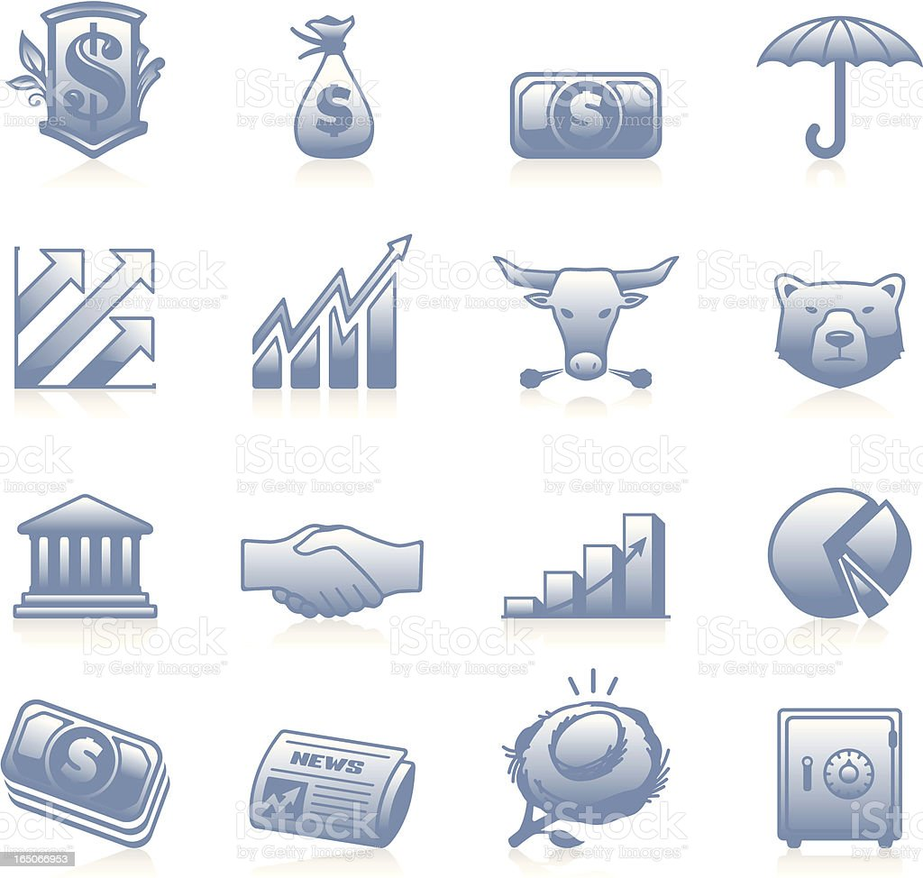 Finance Icons One - Blue royalty-free stock vector art