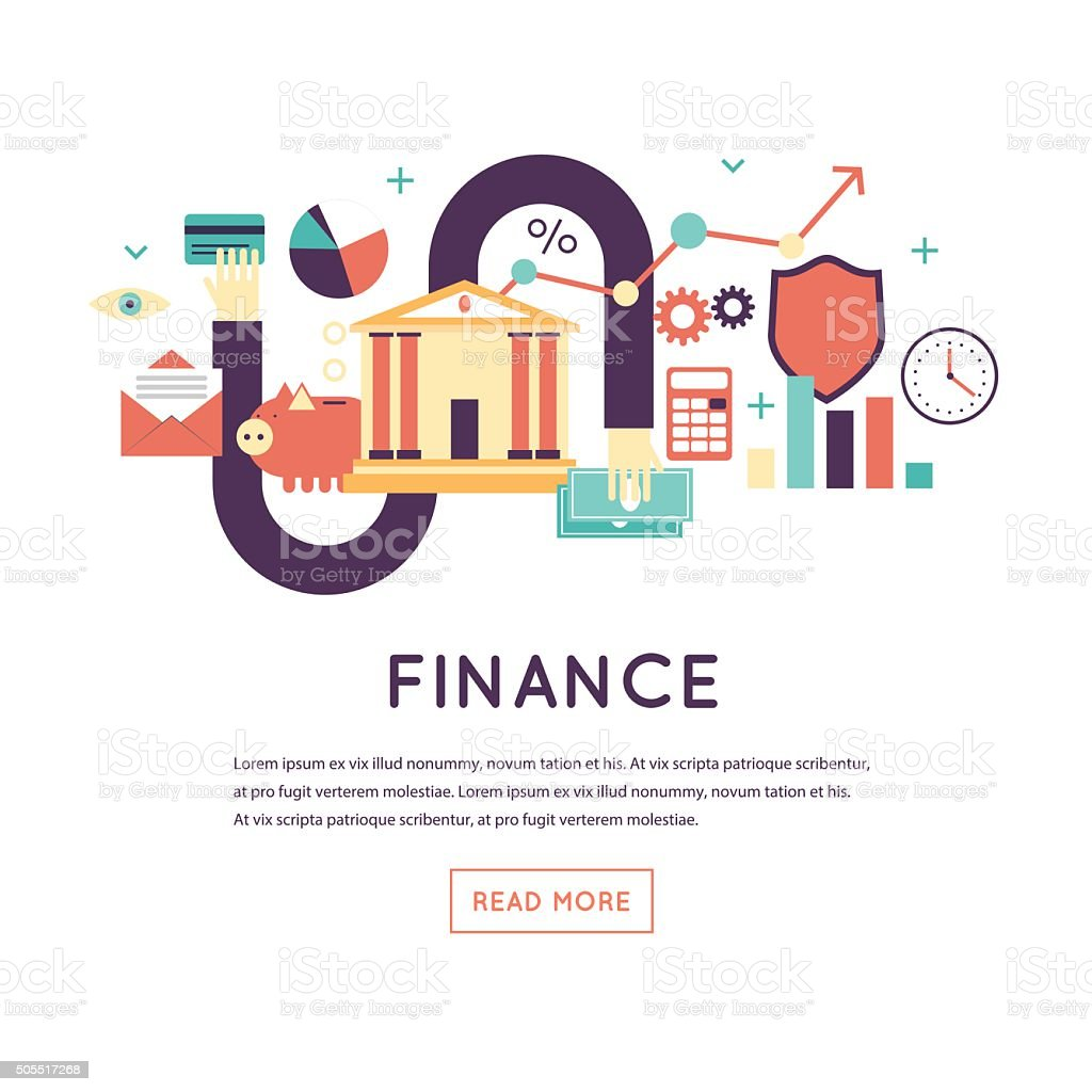 Finance, investment holding, credit, accounting, financial management. vector art illustration