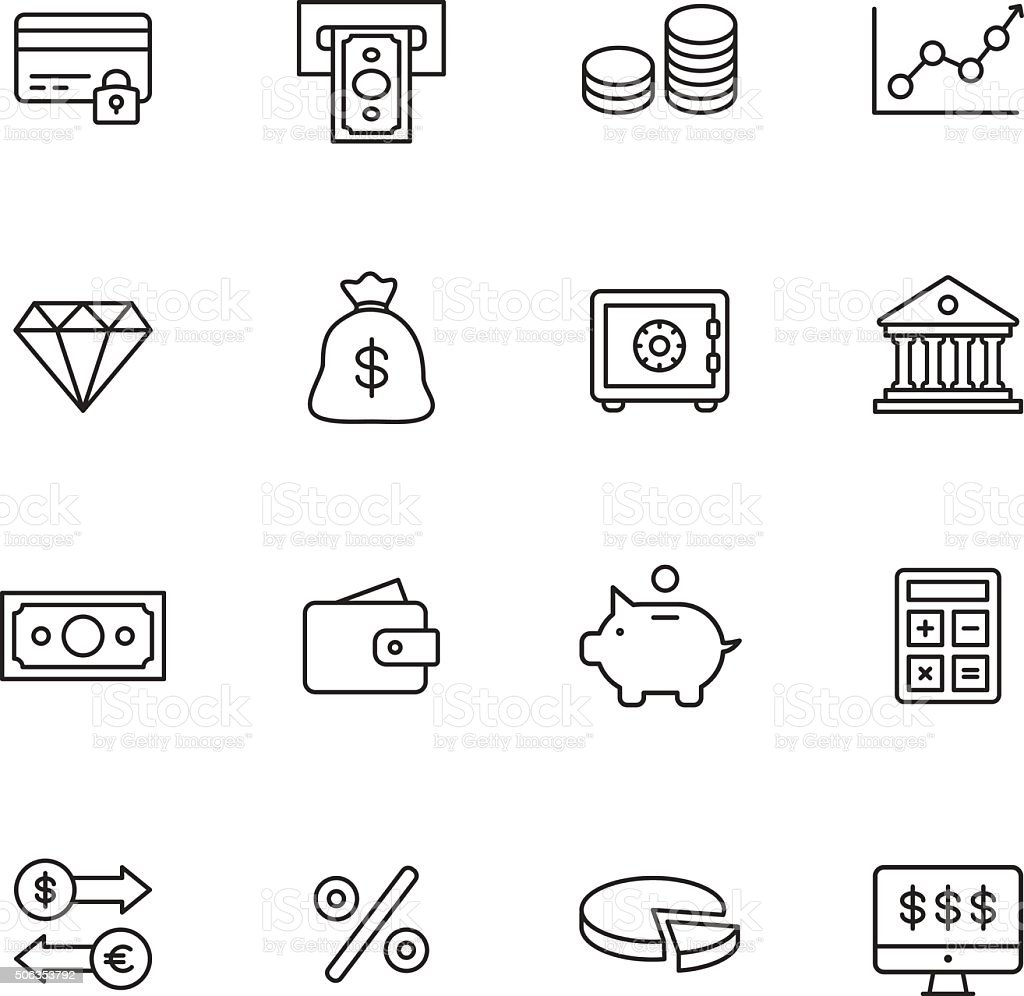Finance Line Icons vector art illustration