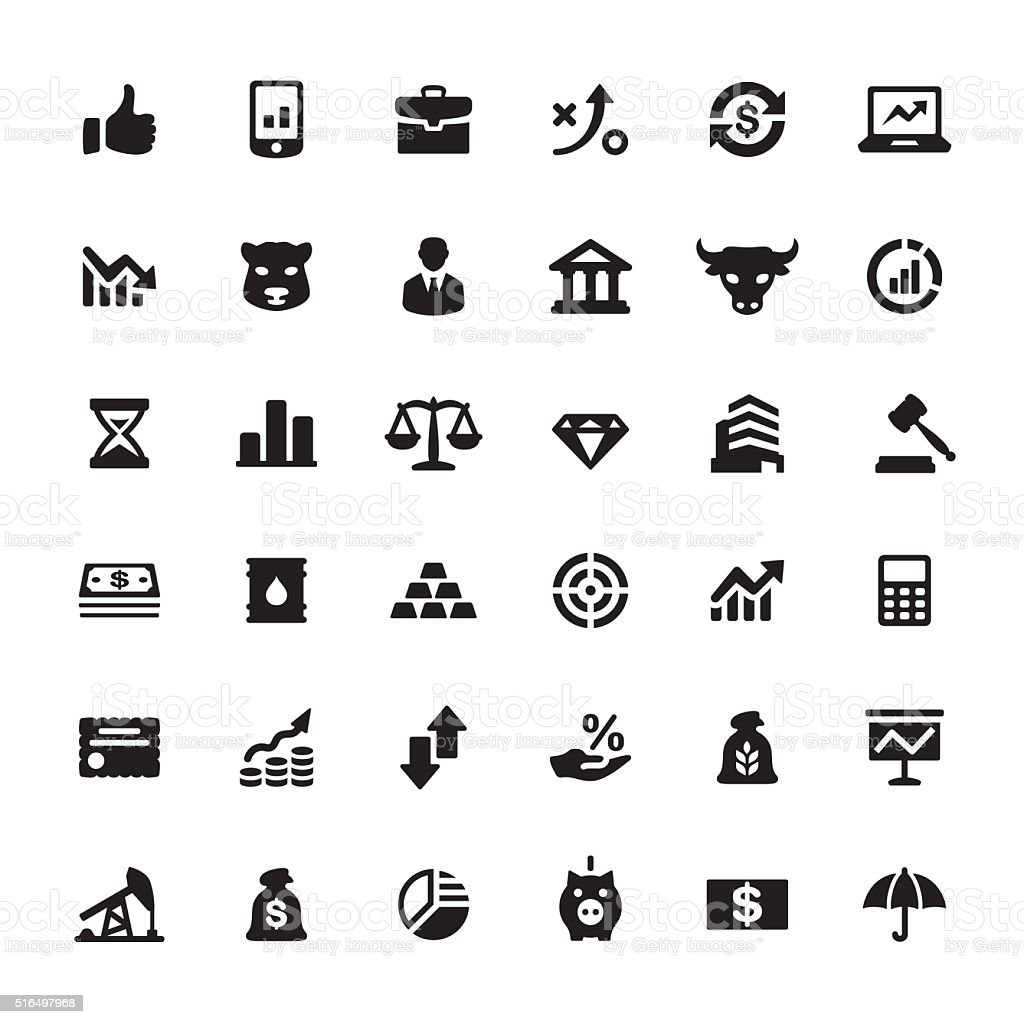 Finance market vector symbols and icons vector art illustration