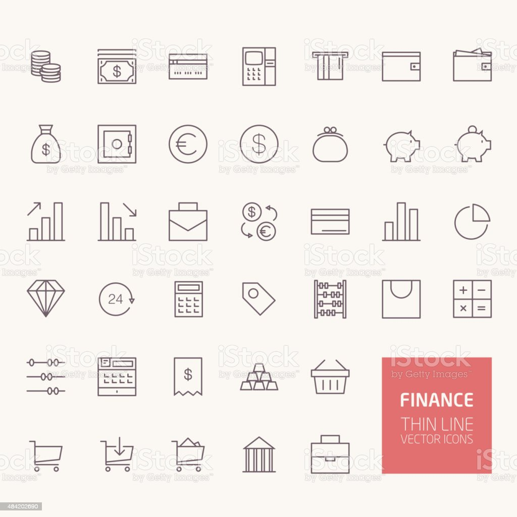 Finance Outline Icons for web and mobile apps vector art illustration