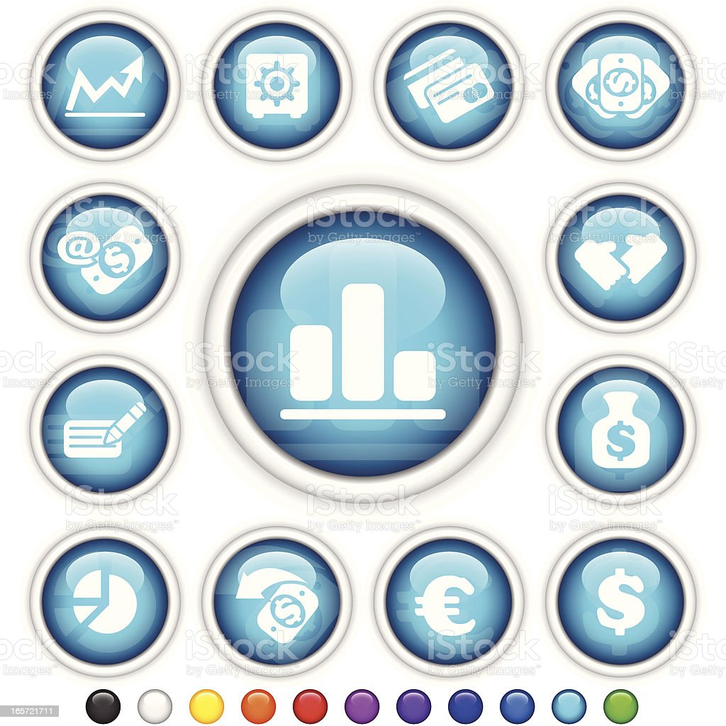 Finance | Plastic Gloss Buttons royalty-free stock vector art