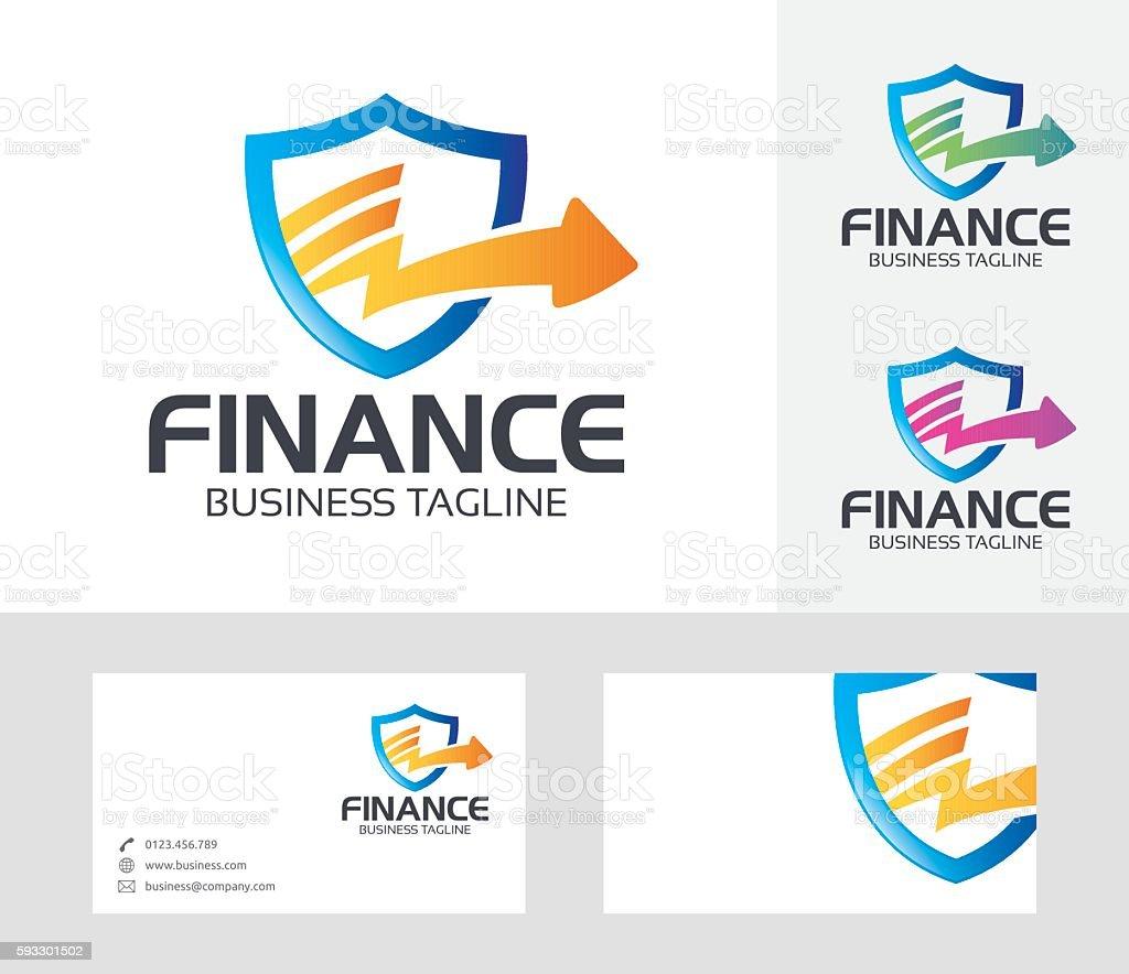 Finance Shield vector logo vector art illustration