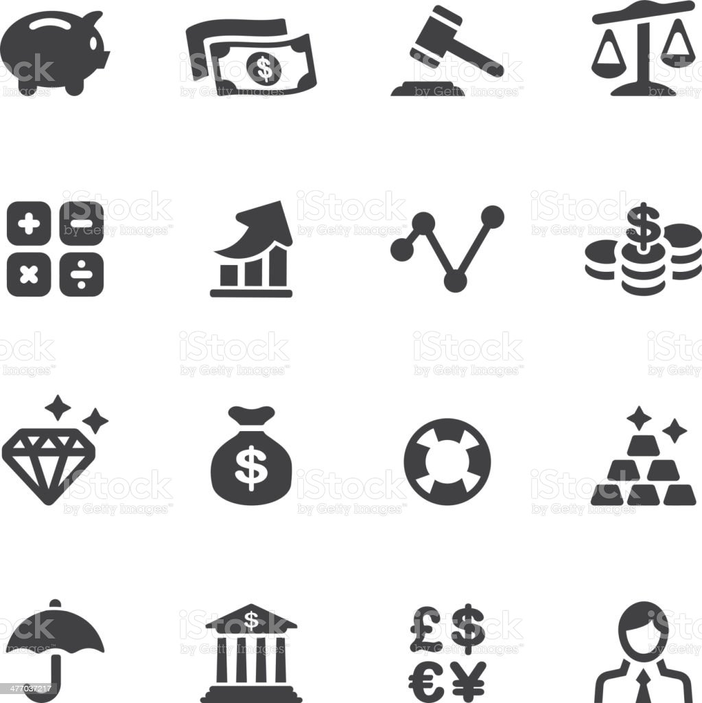 Finance Silhouette Icons vector art illustration
