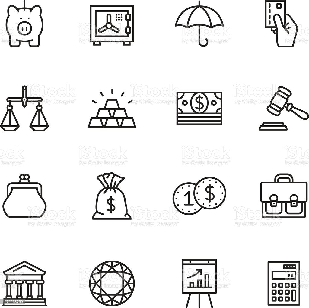 Finance Thin Line icons vector art illustration