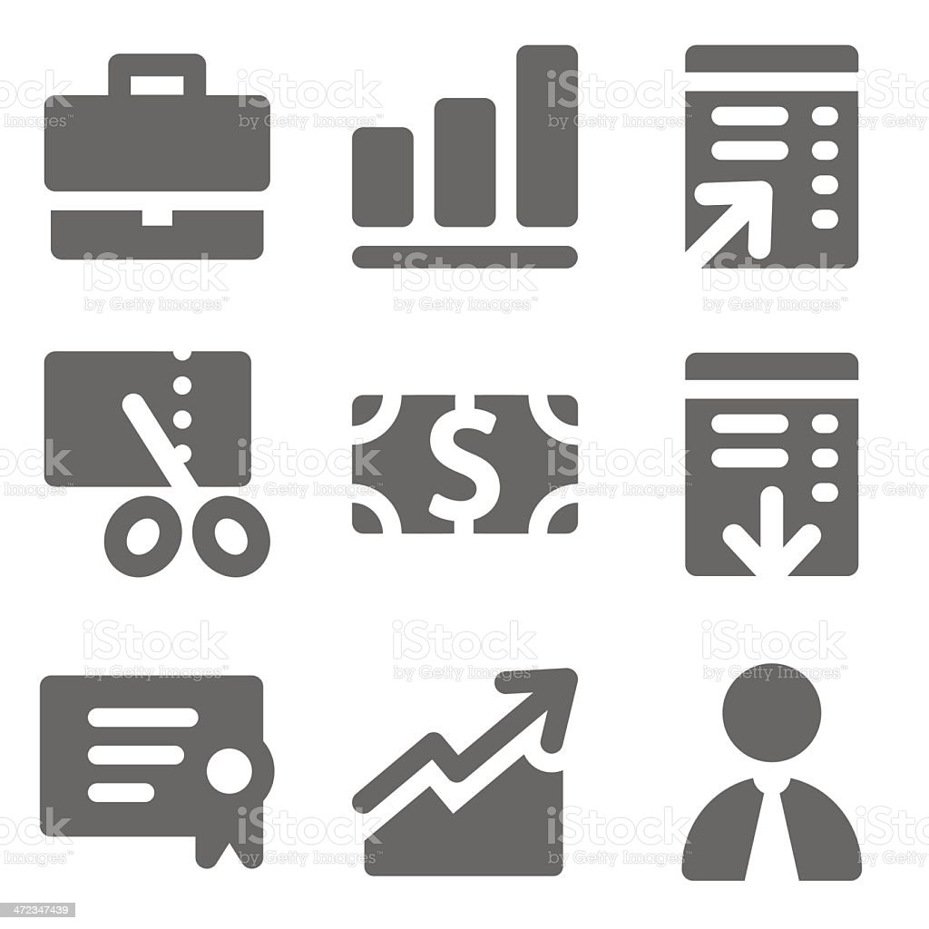Finance web icons, grey solid series royalty-free stock vector art