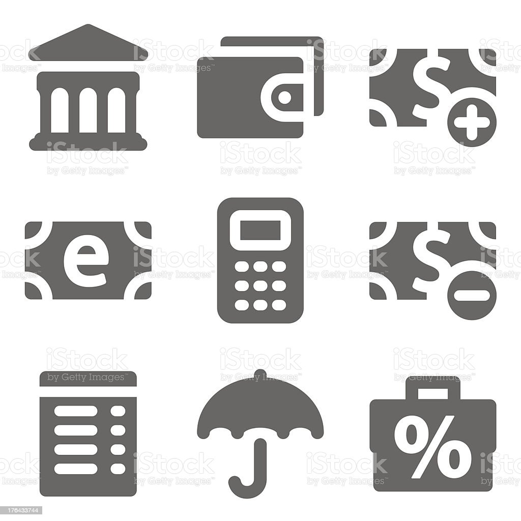 Finance web icons set 2, grey solid series royalty-free stock vector art