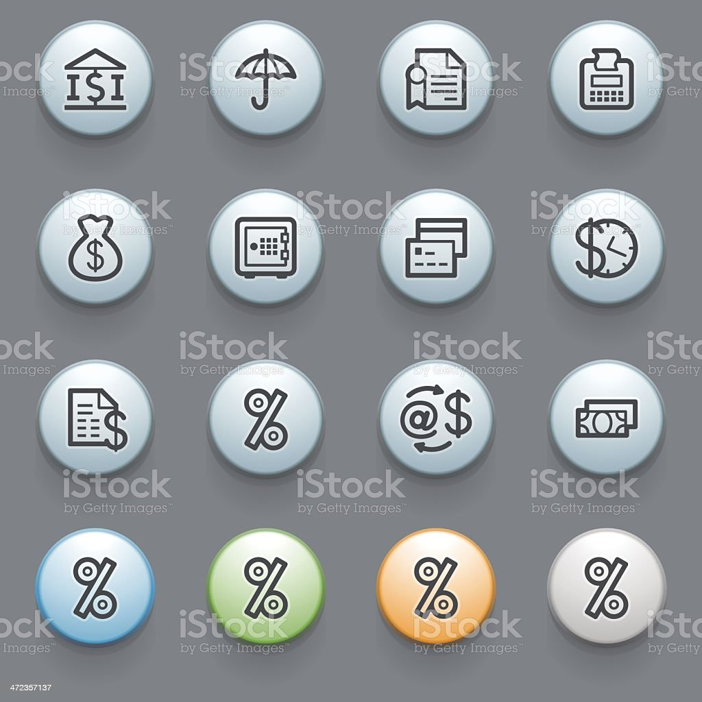 Finance web icons with color buttons on gray background. royalty-free stock vector art
