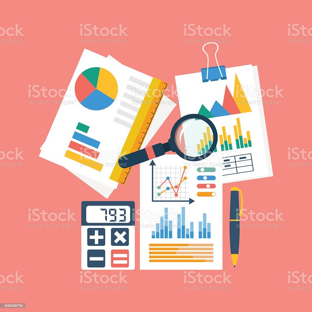 Financial accounting concept. organization process, analytics, r vector art illustration