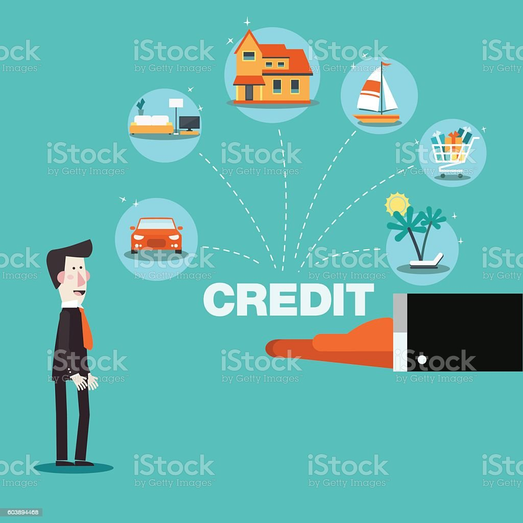 Financial adviser offering a credit card to a business man vector art illustration