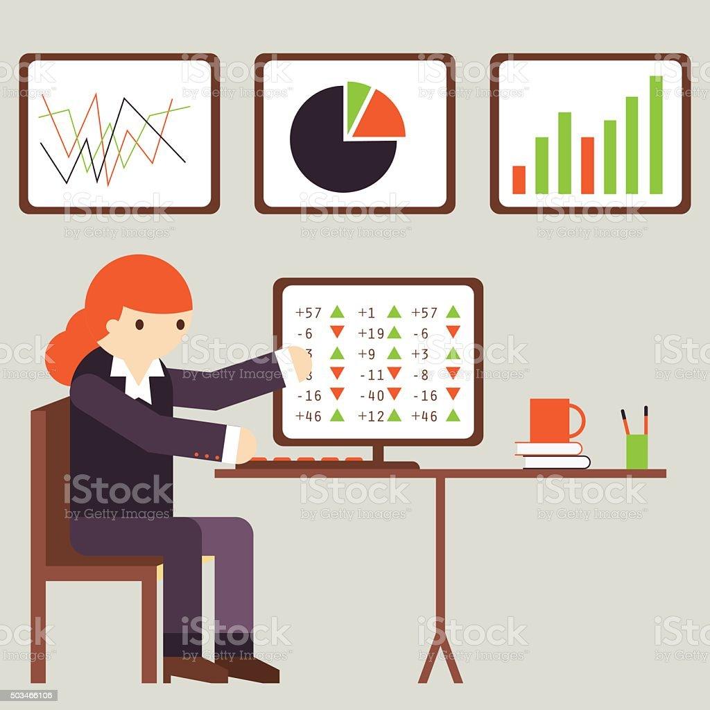 Financial Analyst vector art illustration