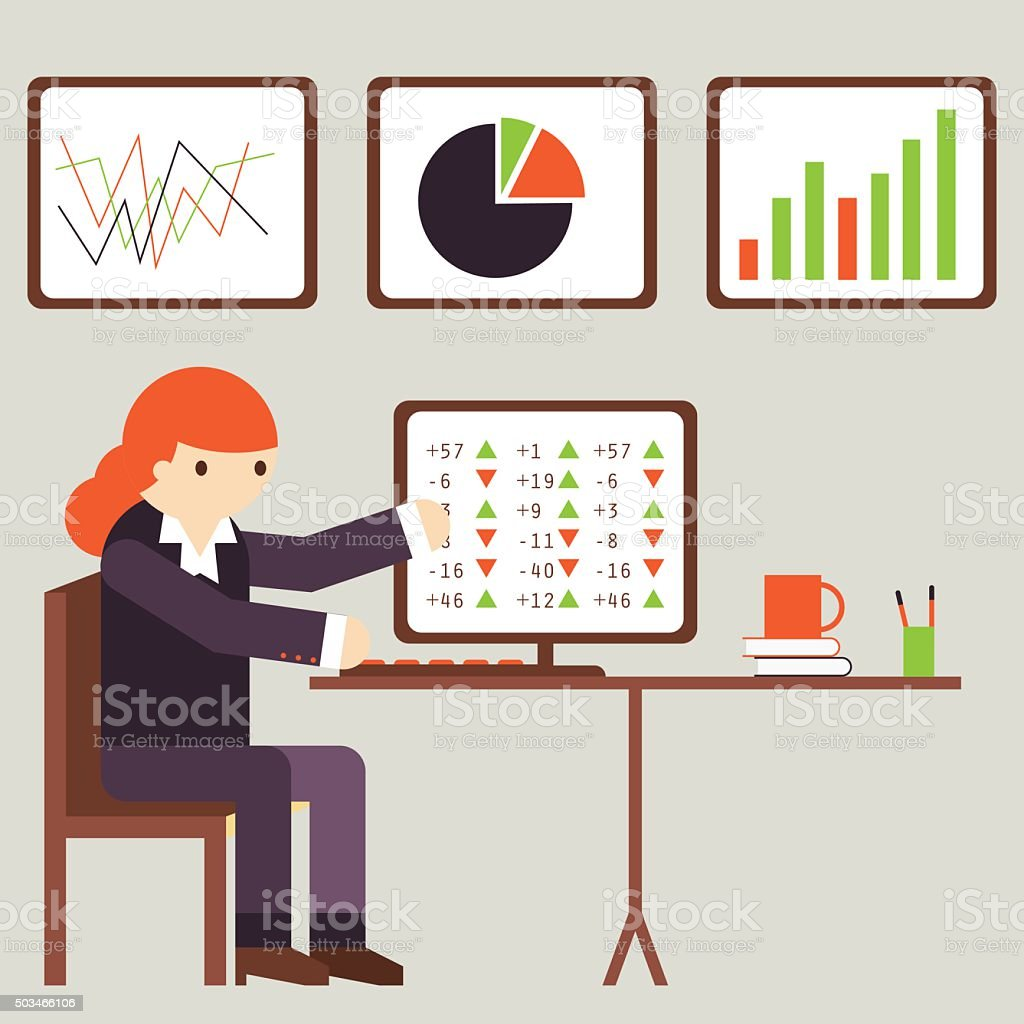 Financial Analyst vector art illustration