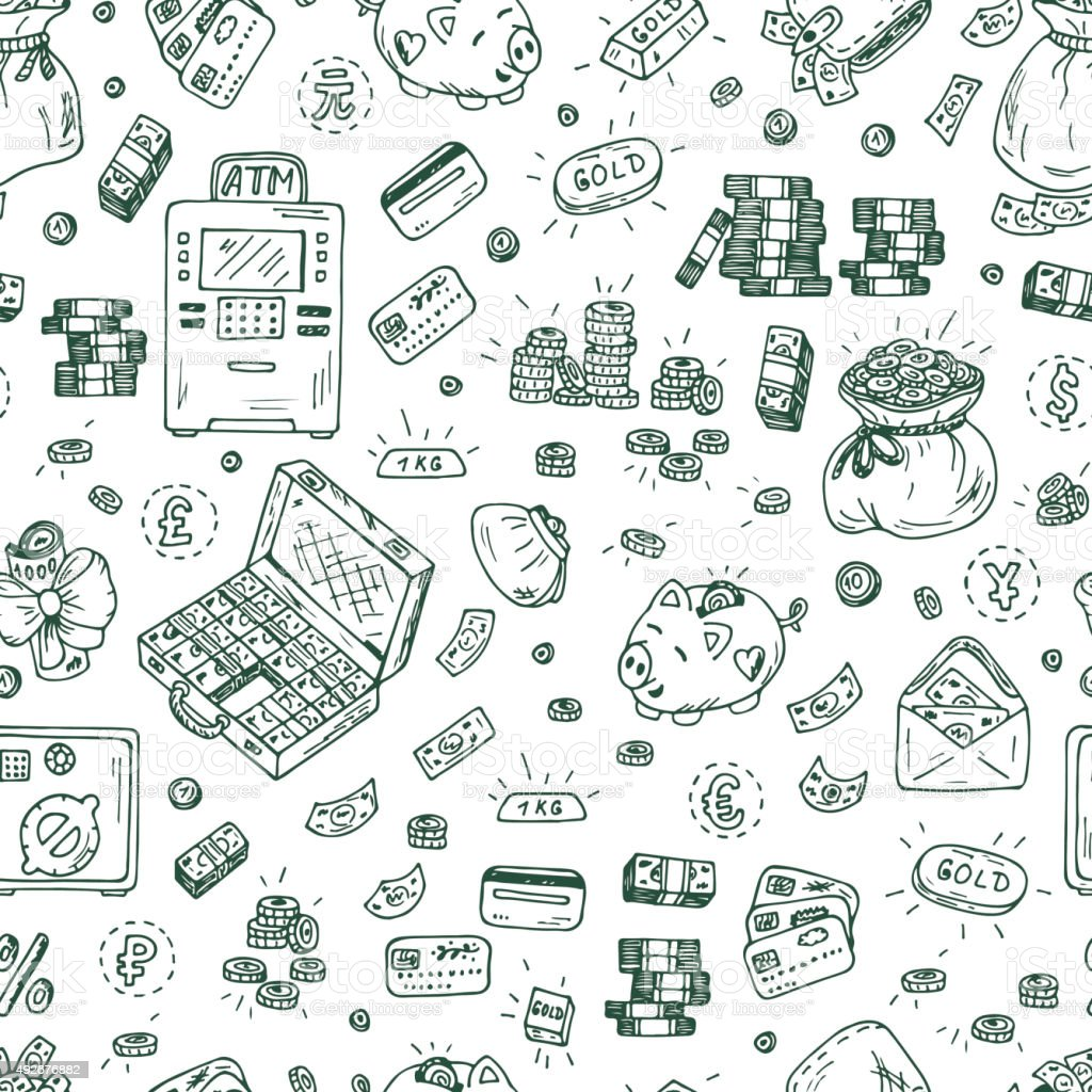 Financial and Business symbols. Hand drawn Doodles Money Seamless pattern vector art illustration