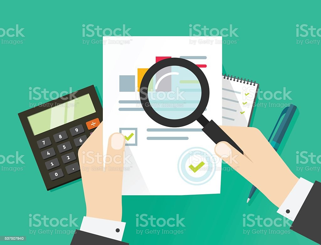 Financial audit, auditing tax process, paper sheet with hands vector art illustration