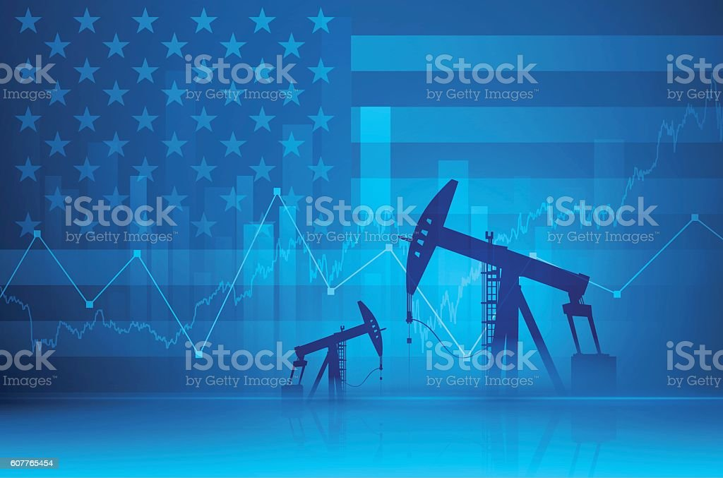 Financial background - oil derricks vector art illustration