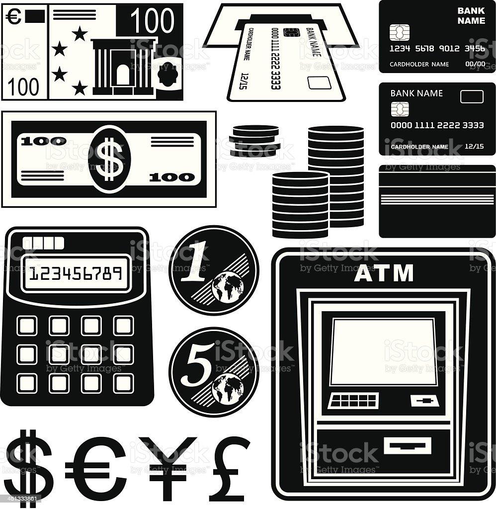 Financial, bank set of icons royalty-free stock vector art