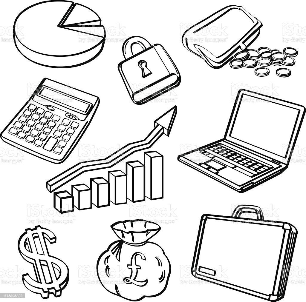 Financial & Business Icon Set vector art illustration
