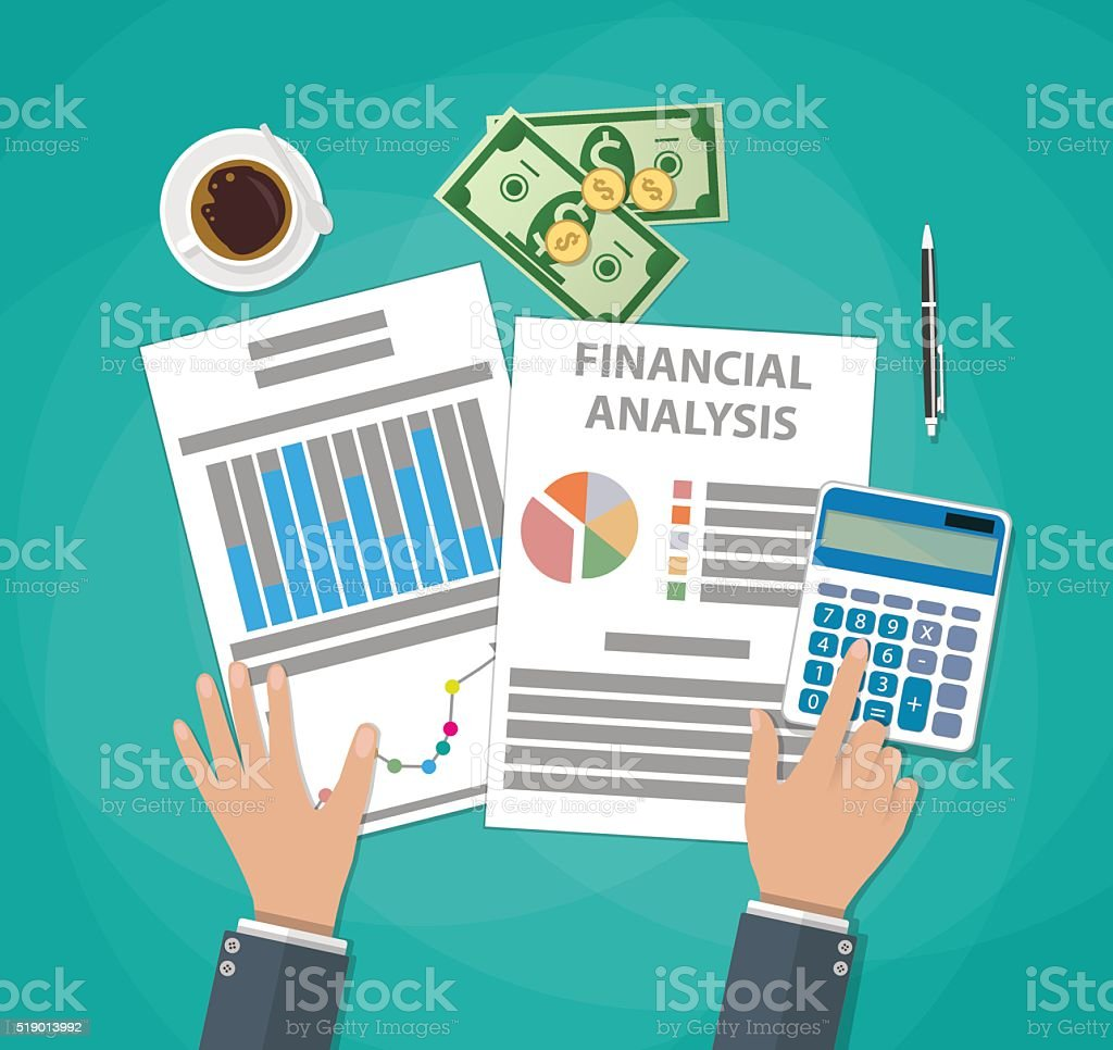 Financial calculations. Working process vector art illustration
