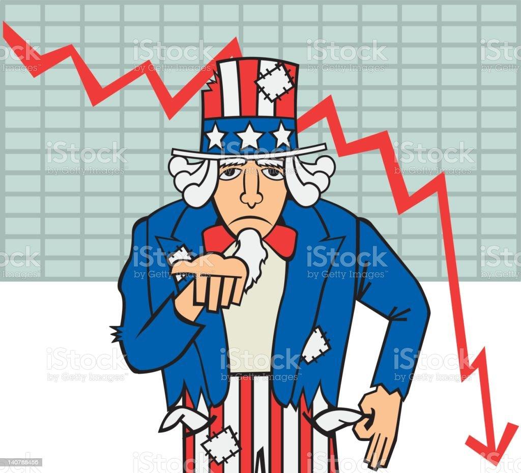 Financial Crisis - Broken Uncle Sam vector art illustration