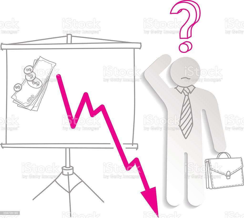 Crise financeira. Confuso homem de negócios mostra caindo gráfico vetor e ilustração royalty-free royalty-free