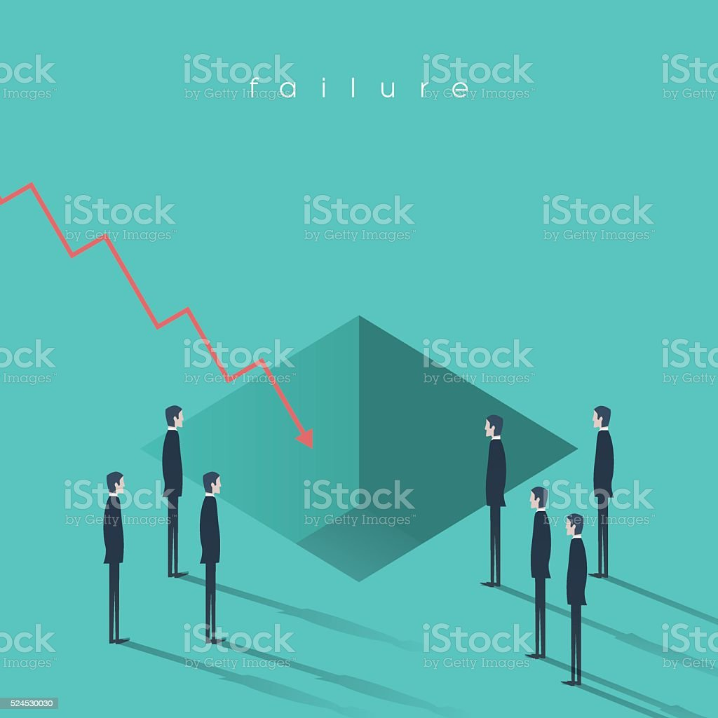 Financial crisis symbol with a hole in the ground and vector art illustration