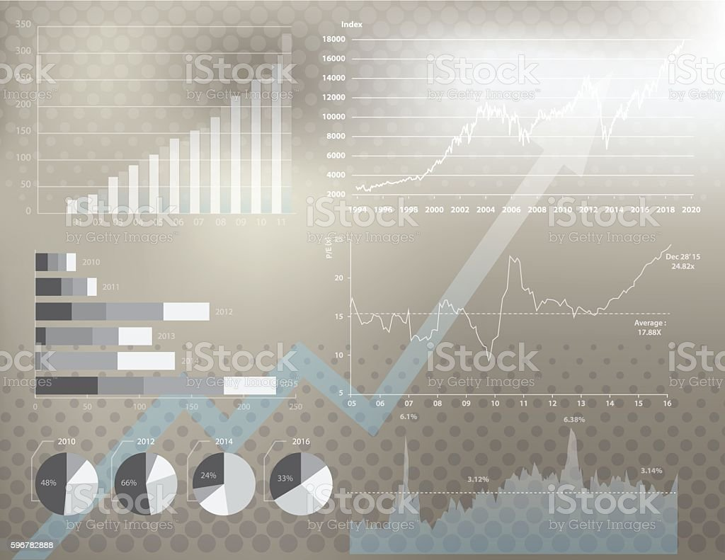 Financial graph background vector art illustration