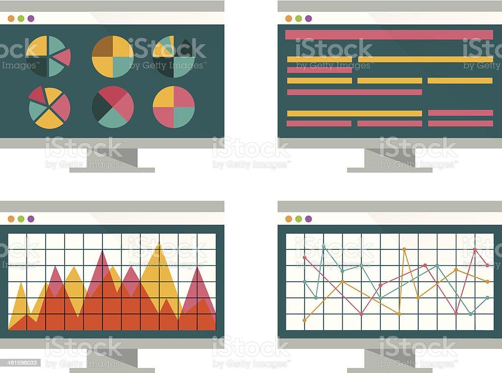 Financial graph on computer screen. vector art illustration
