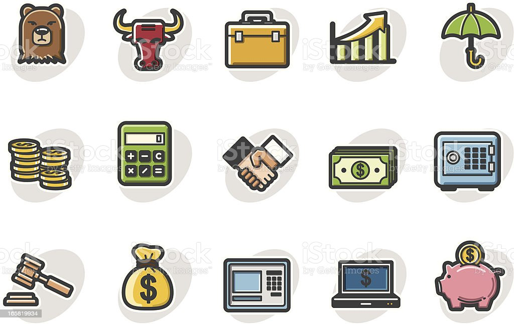financial icon set royalty-free stock vector art