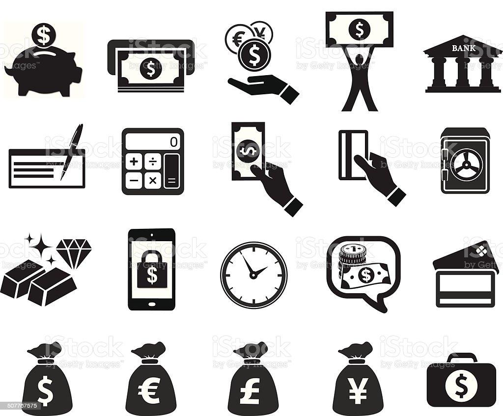 financial icon set vector art illustration