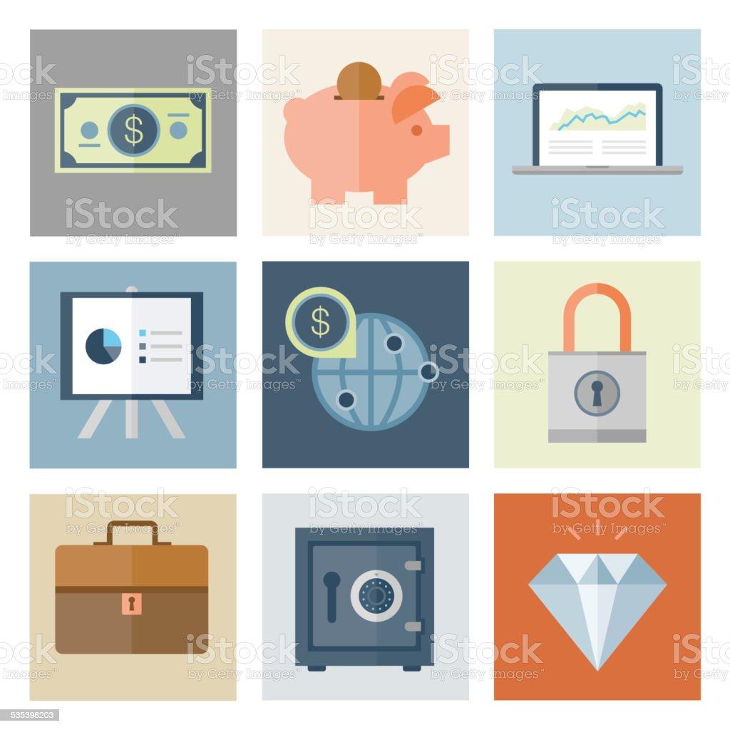 Financial Icons — Flat Series vector art illustration