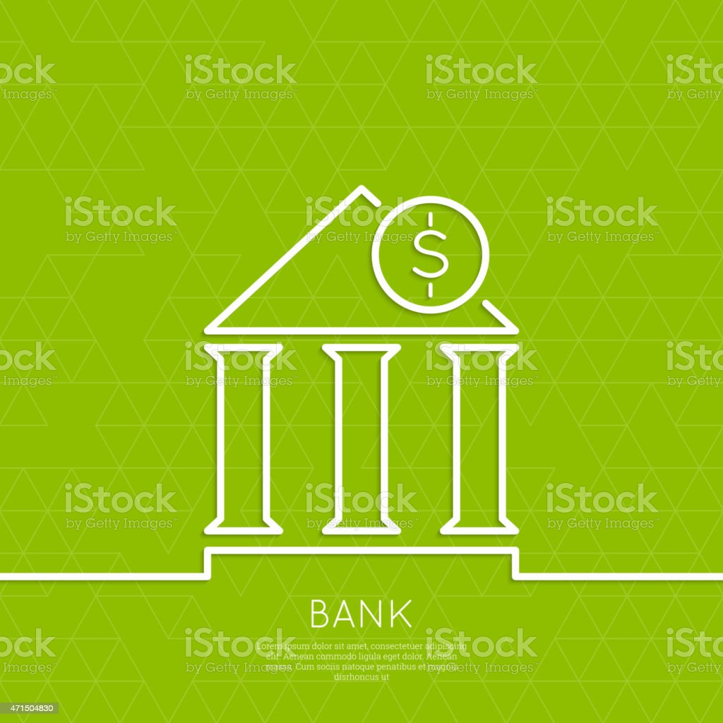 Financial institution with a coin vector art illustration