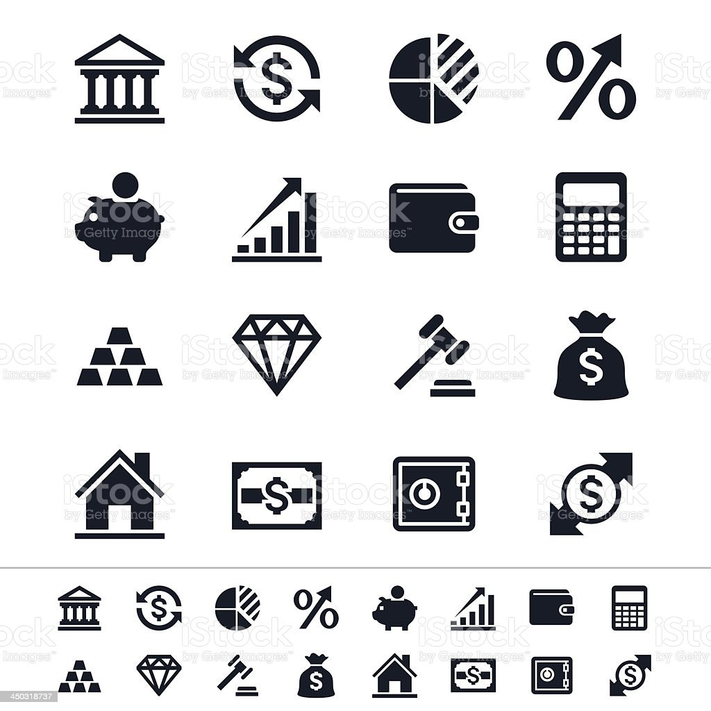 Financial investment icons royalty-free stock vector art