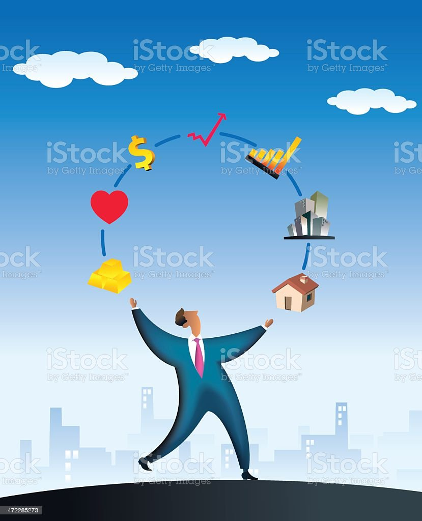 financial juggler vector art illustration