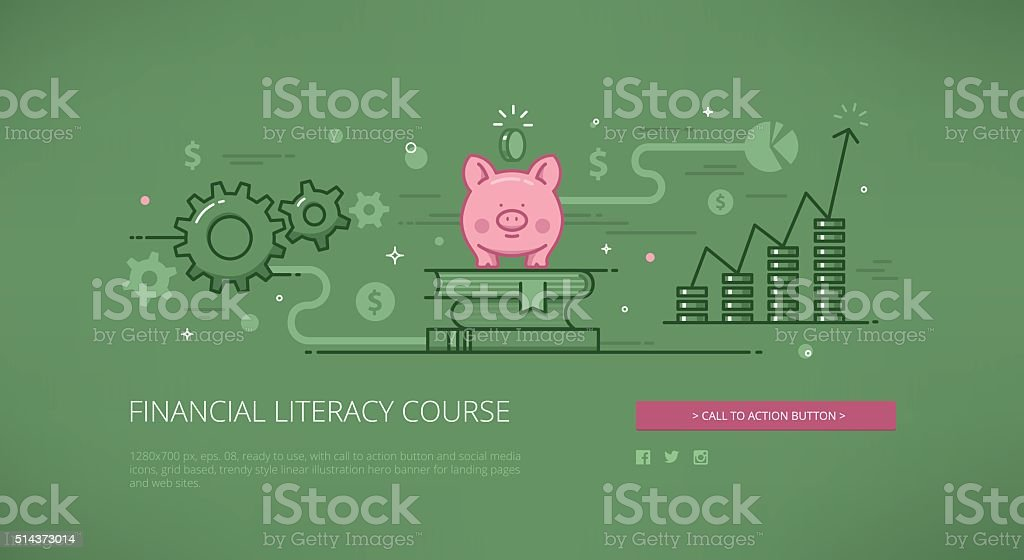 Financial literacy course linear web illustration vector art illustration
