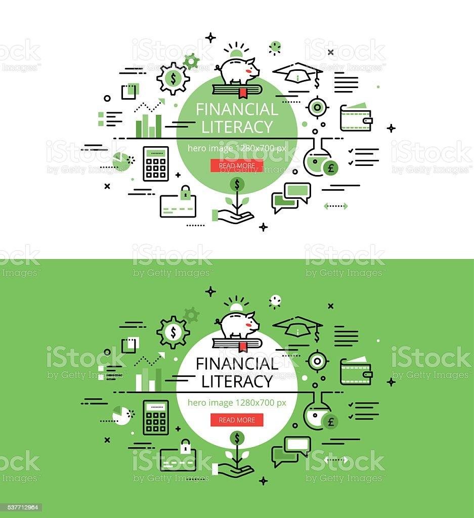 Financial Literacy. Flat line color hero images concept vector art illustration