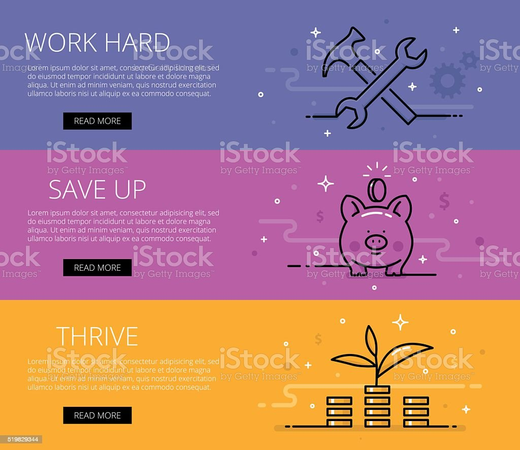 Financial literacy line vector web banners set vector art illustration