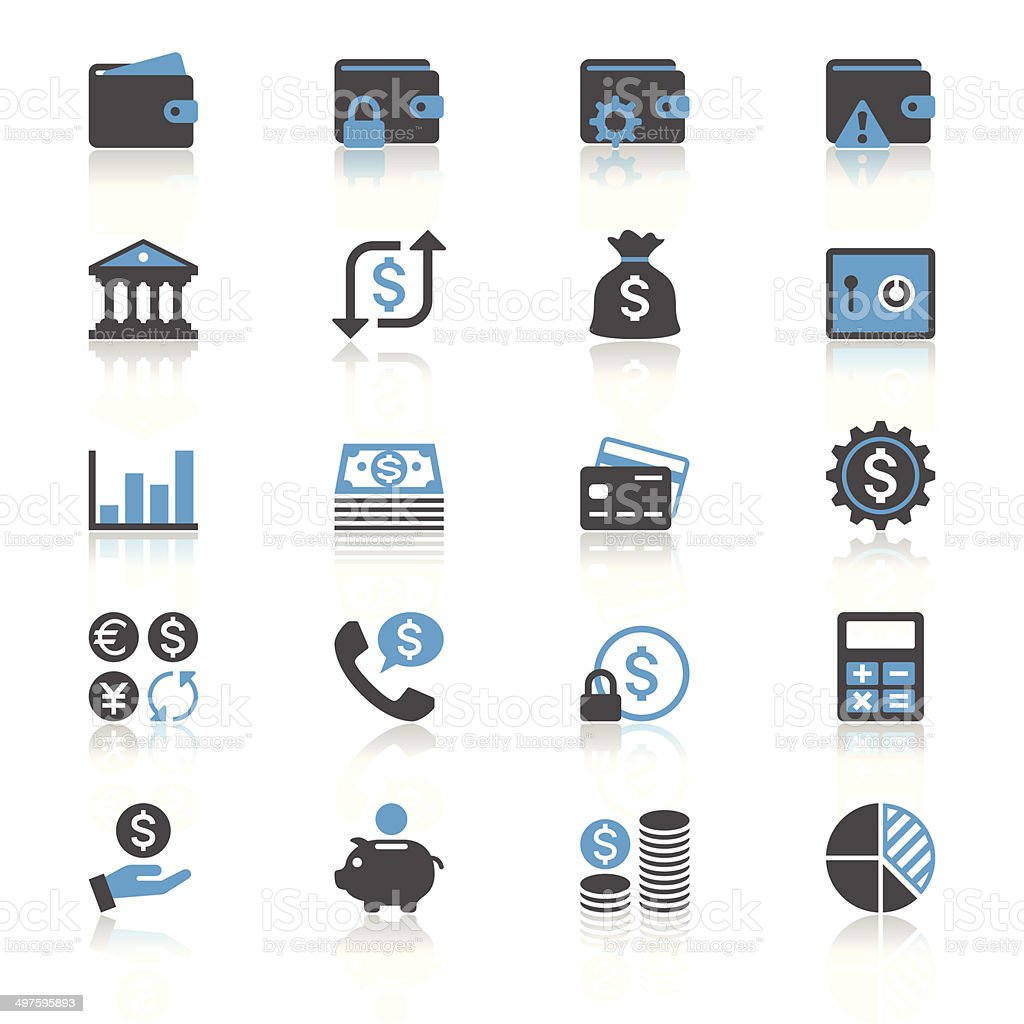 Financial management flat with reflection icons vector art illustration
