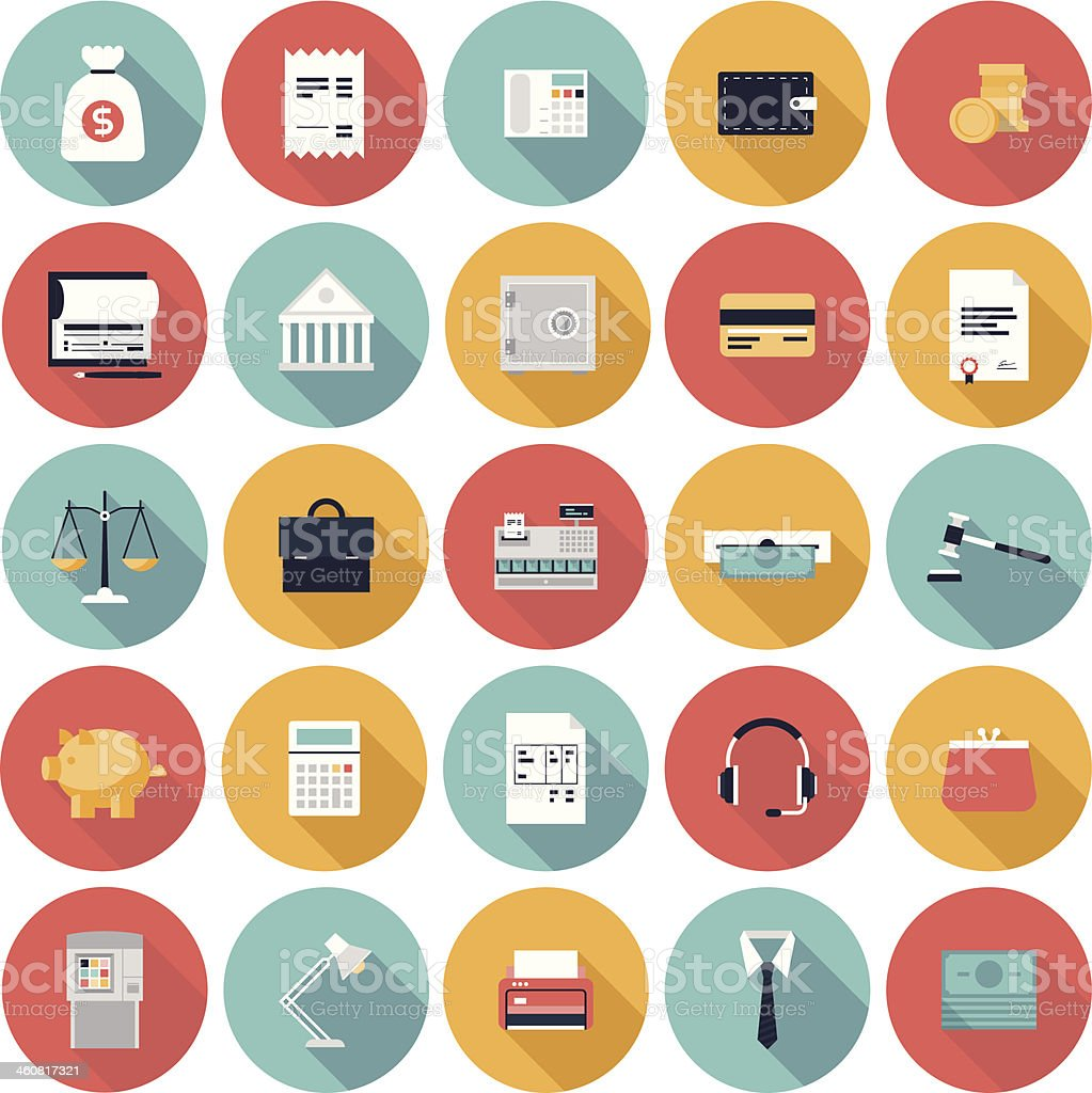 Finance and market flat icons set vector art illustration