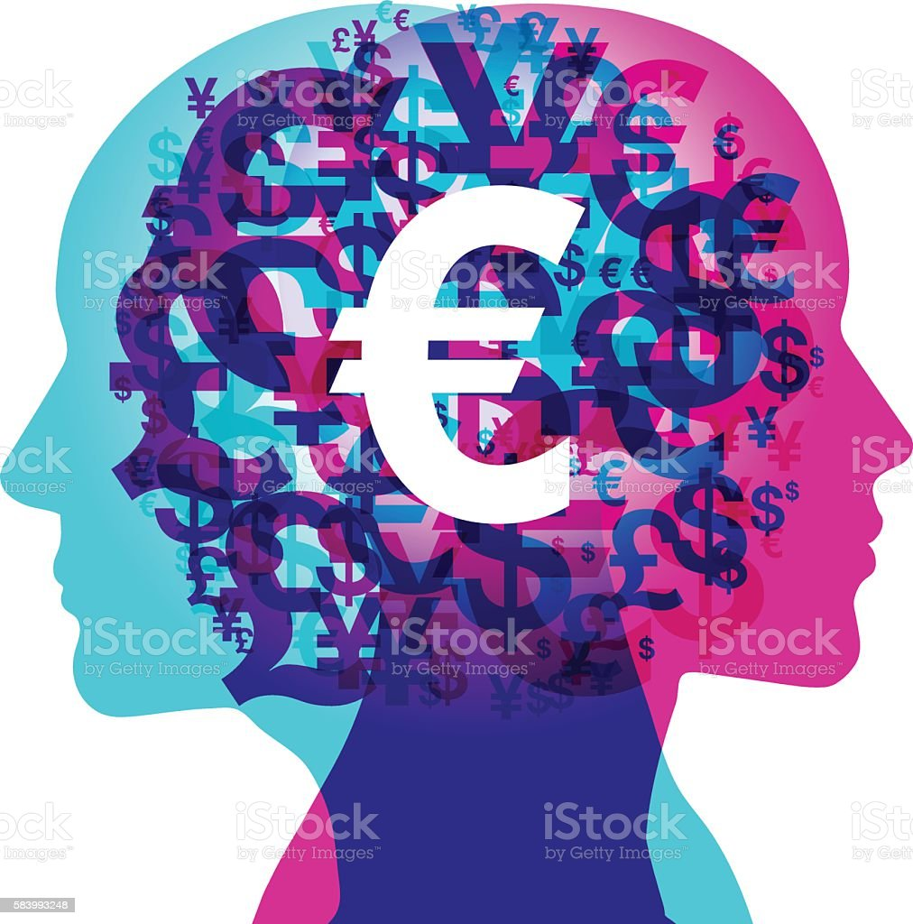 Financial Minds - Euro Focus vector art illustration
