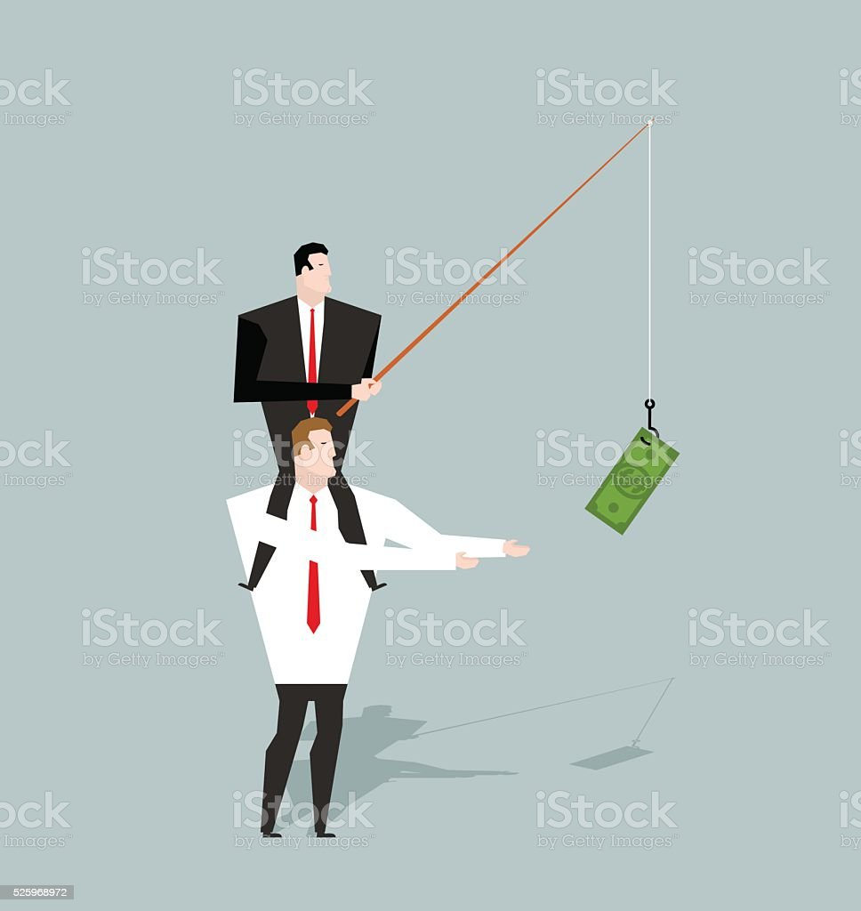 Financial motivation. Boss holding on hook dollar. Rewards for j vector art illustration
